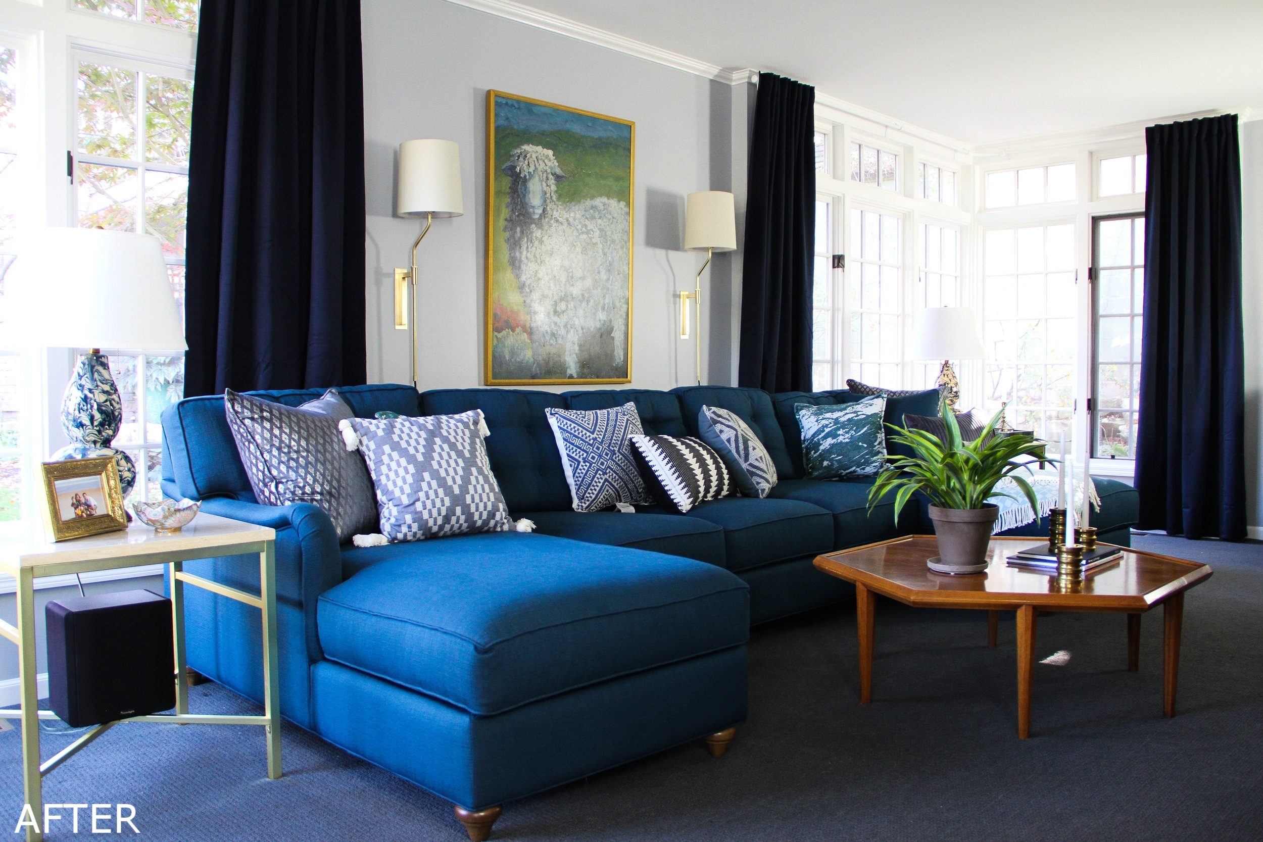 Blue Traditional Family Room with U-sectional and Vintage Coffee Table