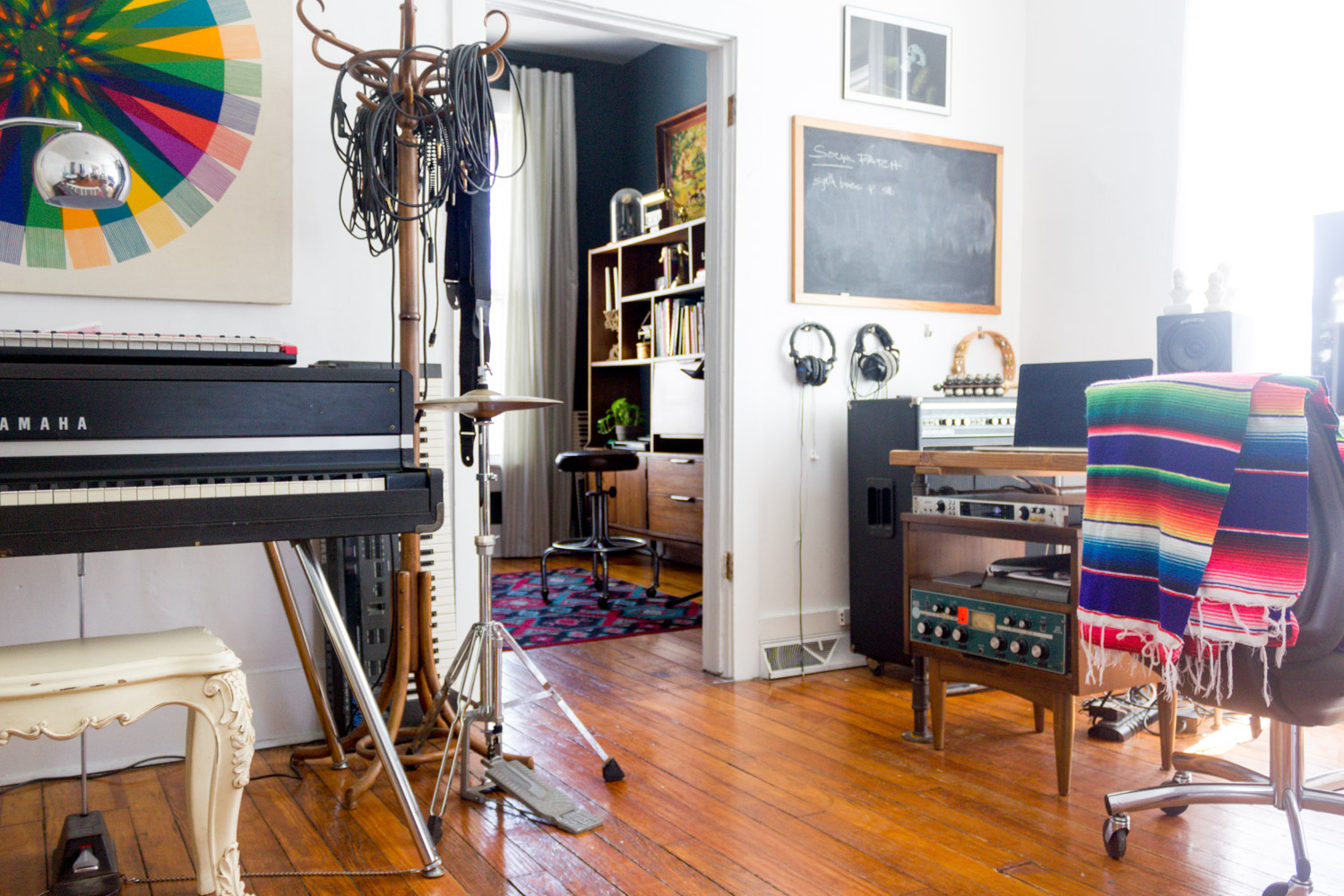 Colorful in-home music studio with vintage gear
