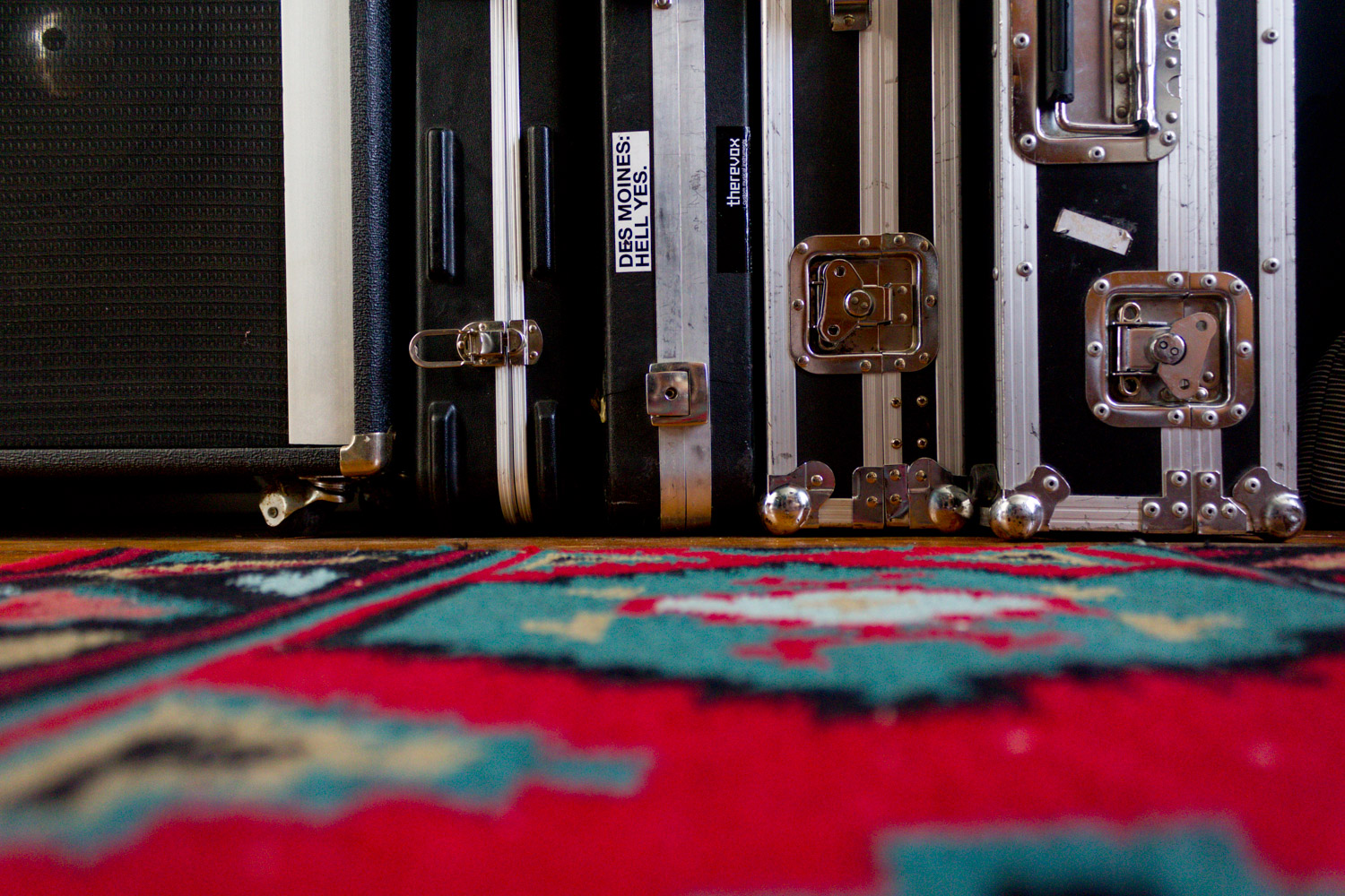 Copy of In-home music studio, vintage rug and road cases