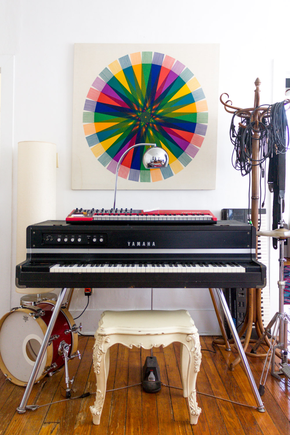 Copy of Colorful in-home music studio with vintage Yamaha CP-70 grand piano