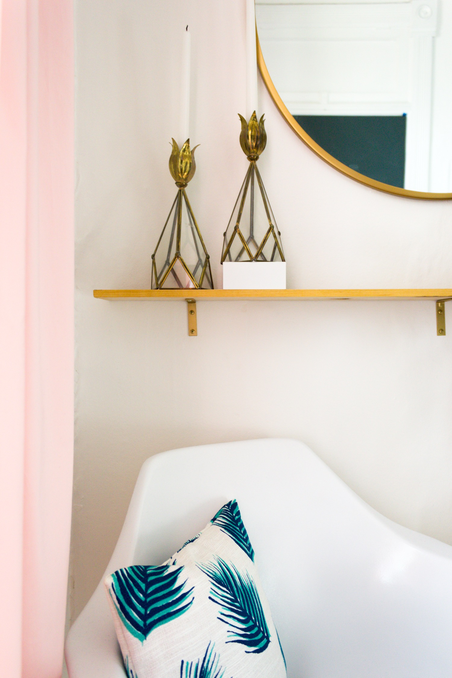 Copy of Pink and Green Entryway, Brass Accessories