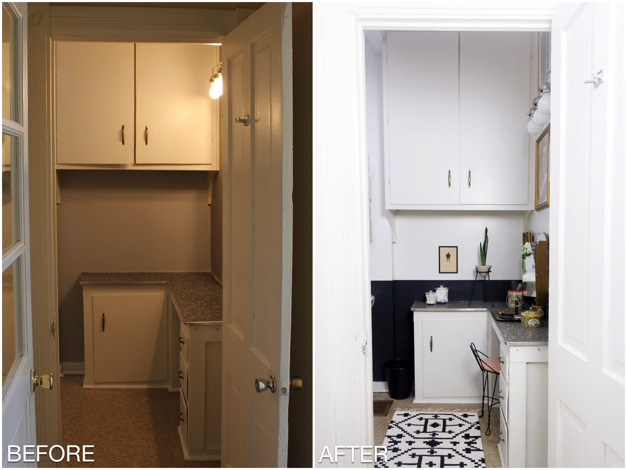 Black and white rental bathroom Before/After