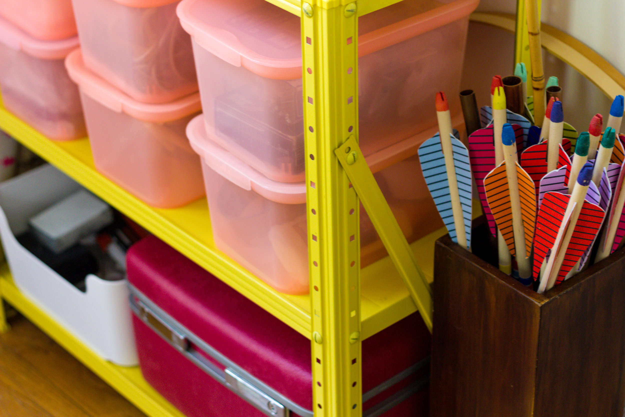 Pink Storage in Home Office