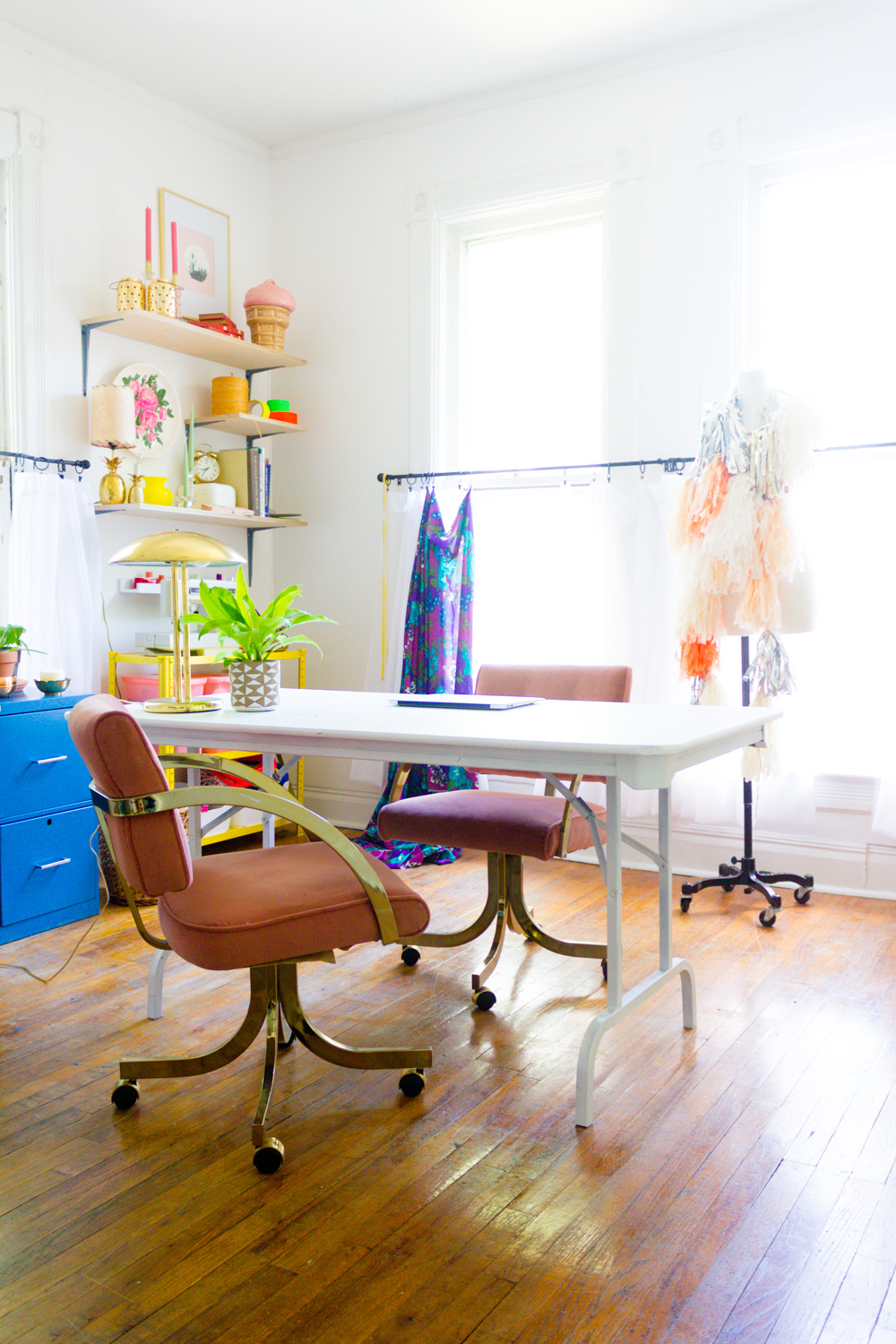 Colorful Home Office with Pink Chairs