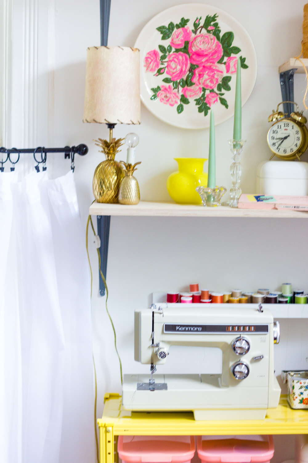 Colorful Sewing Machine Shelves