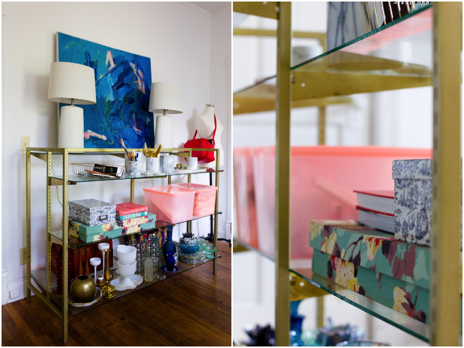 Colorful Home Office with Pink and Brass Storage