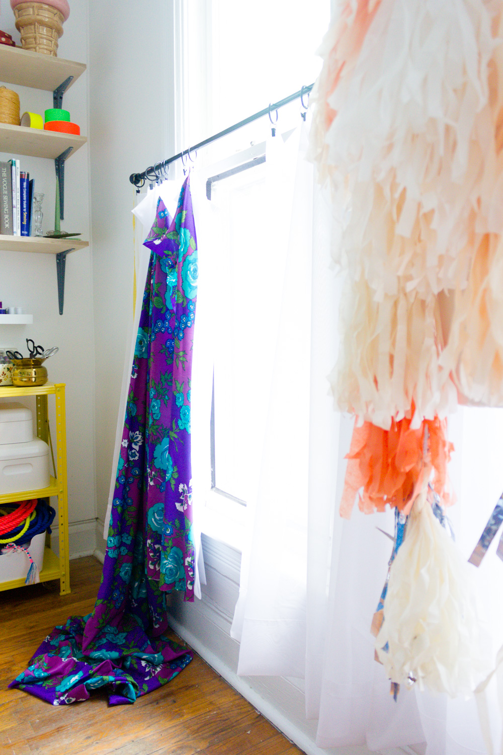 Copy of Bright and colorful home office/craft-room, vintage purple floral curtain