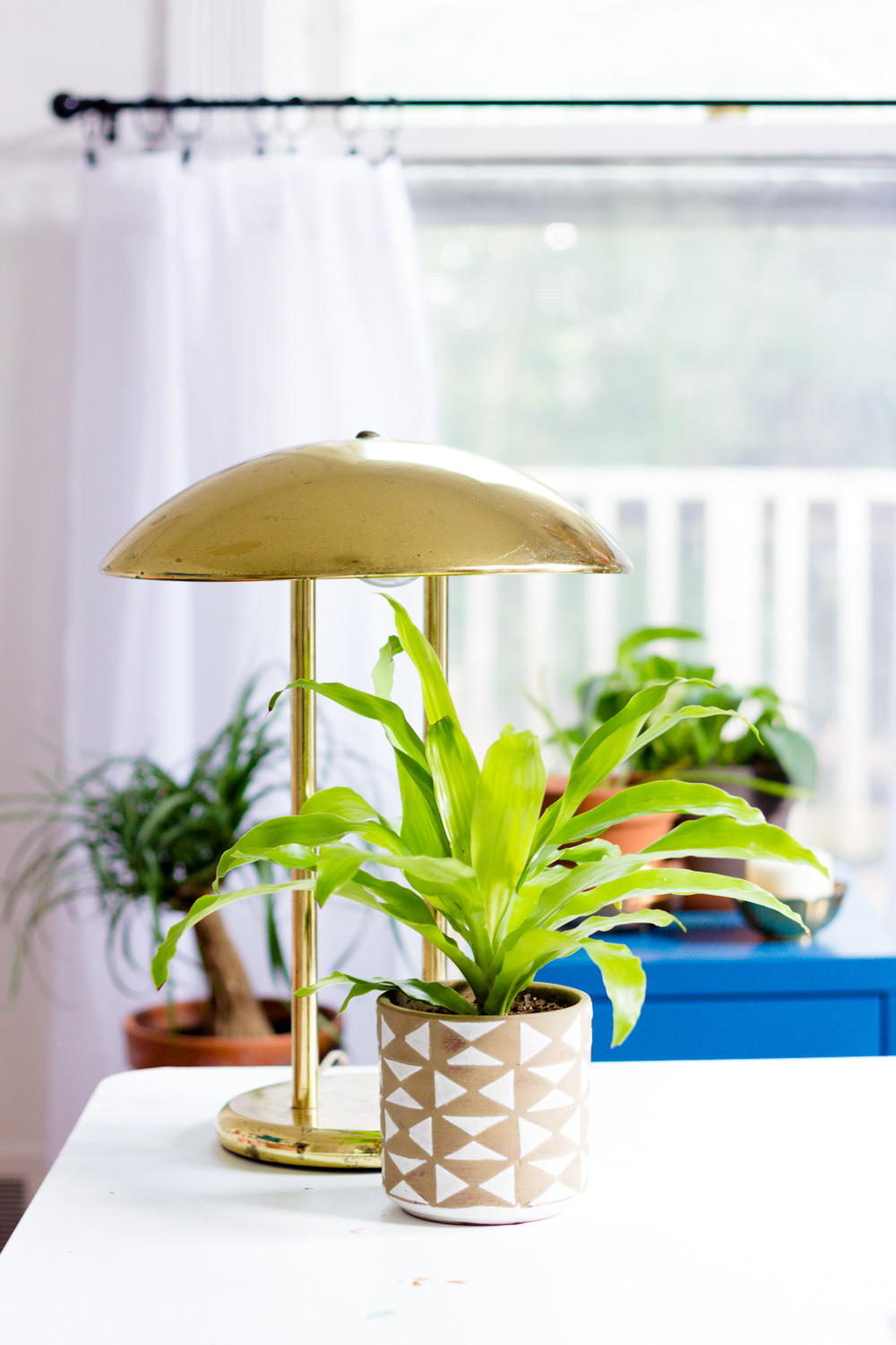 Copy of Vintage brass table lamp and plants