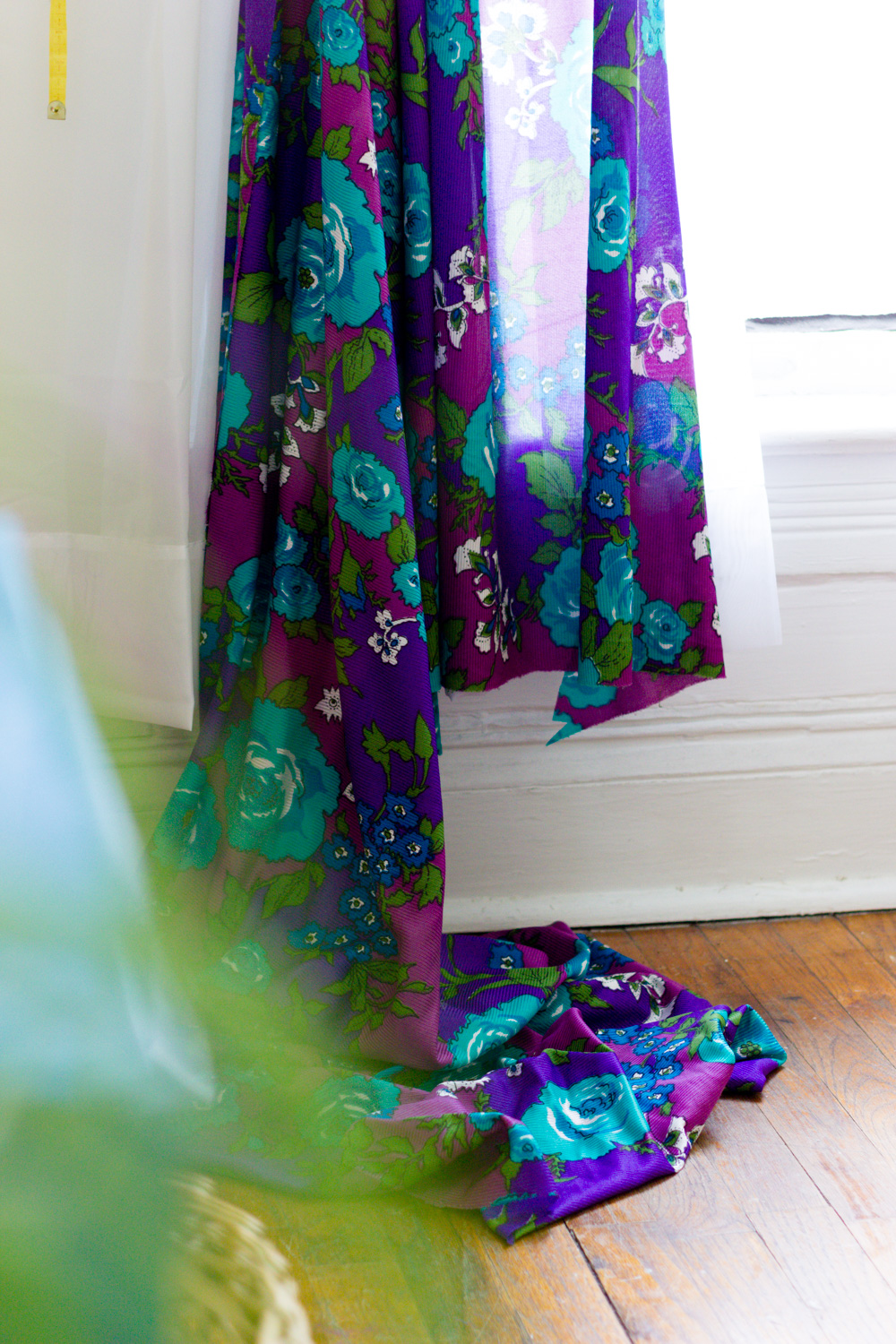 Copy of Vintage purple floral curtain