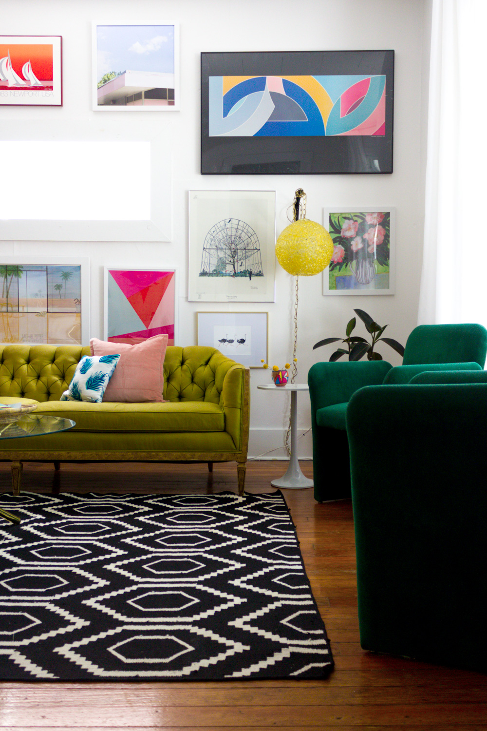 Colorful Living Room Gallery Wall