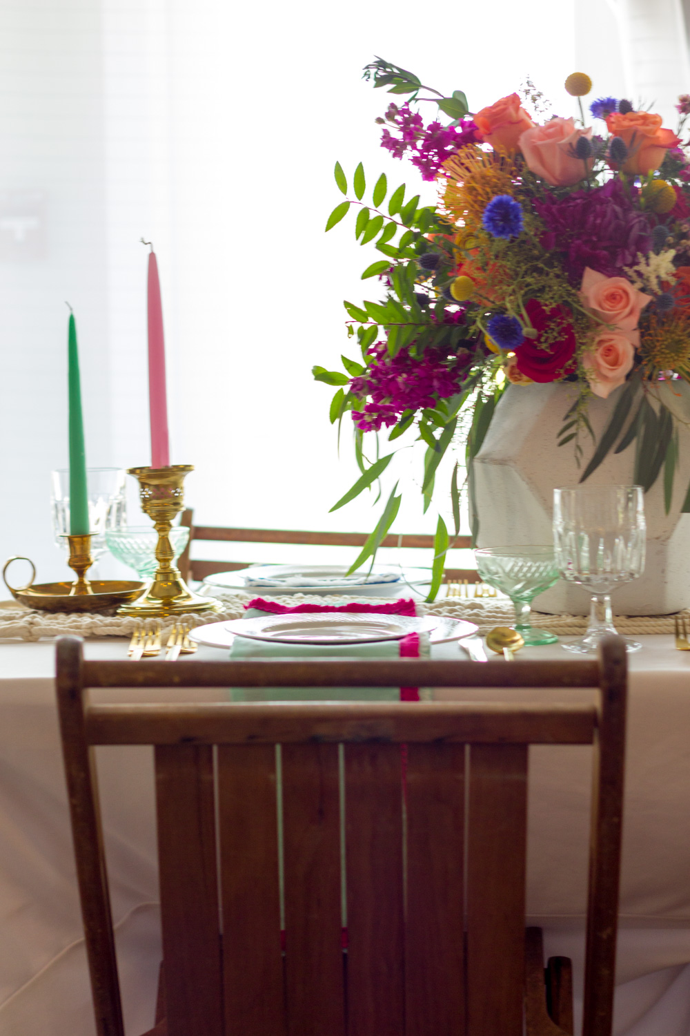 Colorful Bohemian Wedding Table Setting