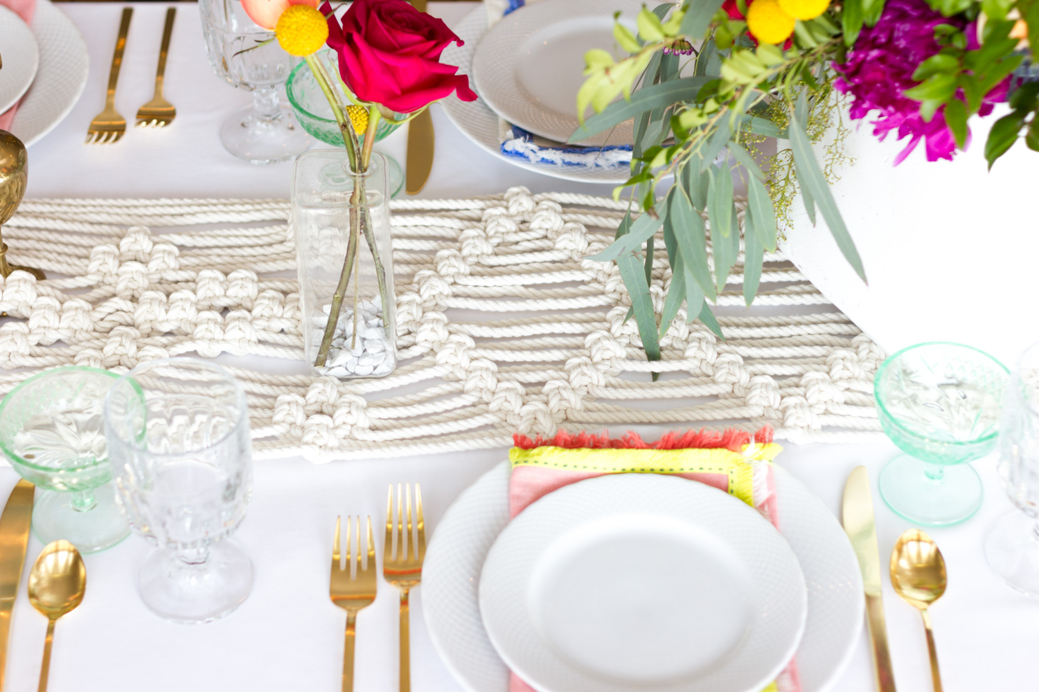 Colorful Bohemian Wedding Table Setting, Macrame Runner