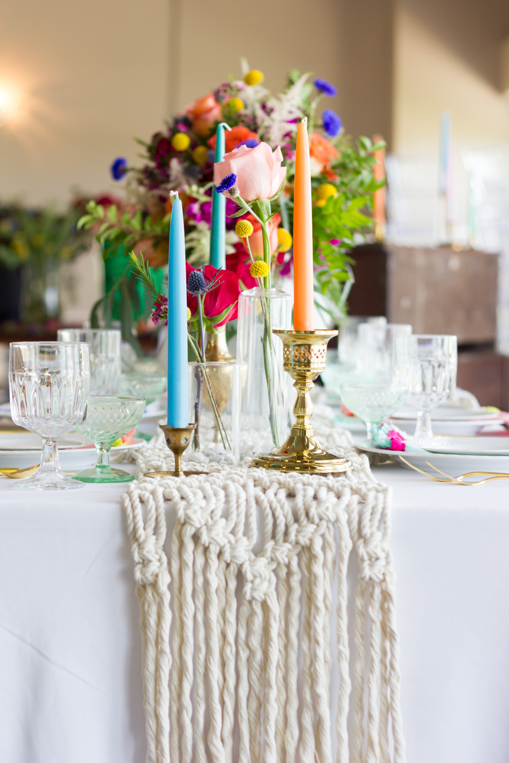Colorful Candles, Bohemian Wedding Table Setting, Macrame Runner