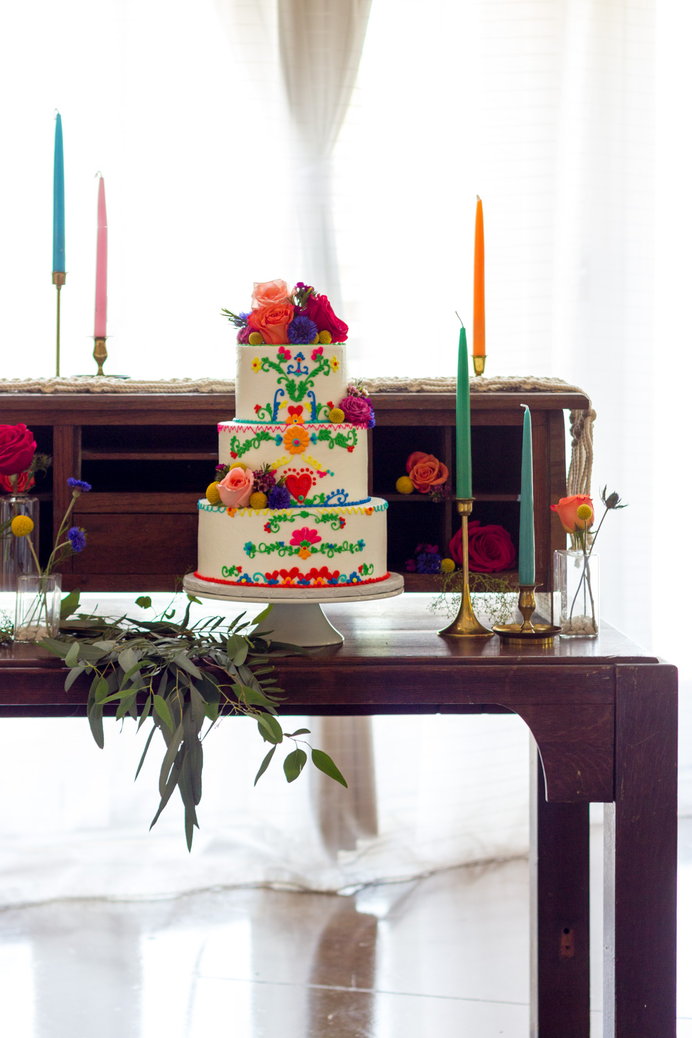 Colorful, Rustic Bohemian Wedding Dessert Table
