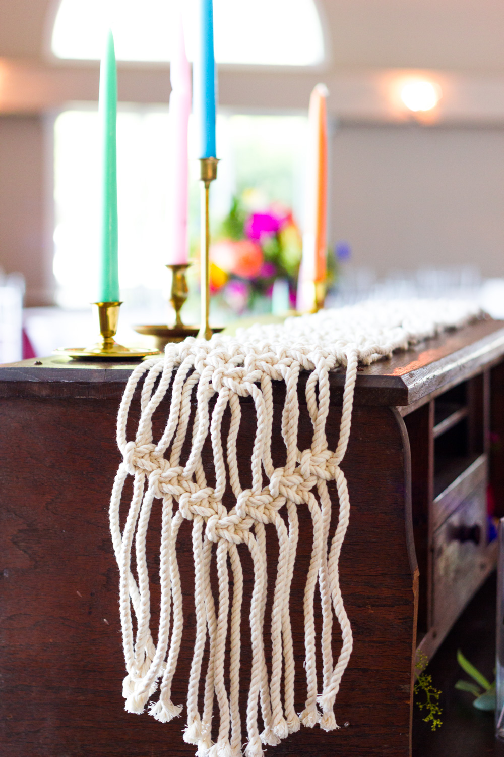 Colorful Candles Bohemian Wedding Table, Macrame Runner