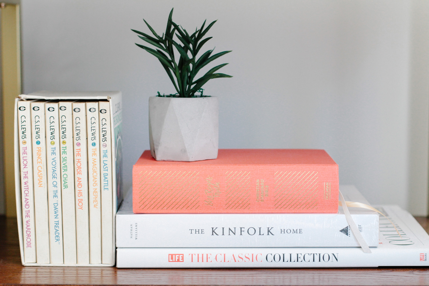 Modern Colonial Entryway Shelf Styled with Books