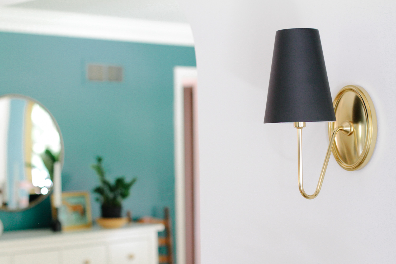 Brass with Black Shade Entryway Sconce