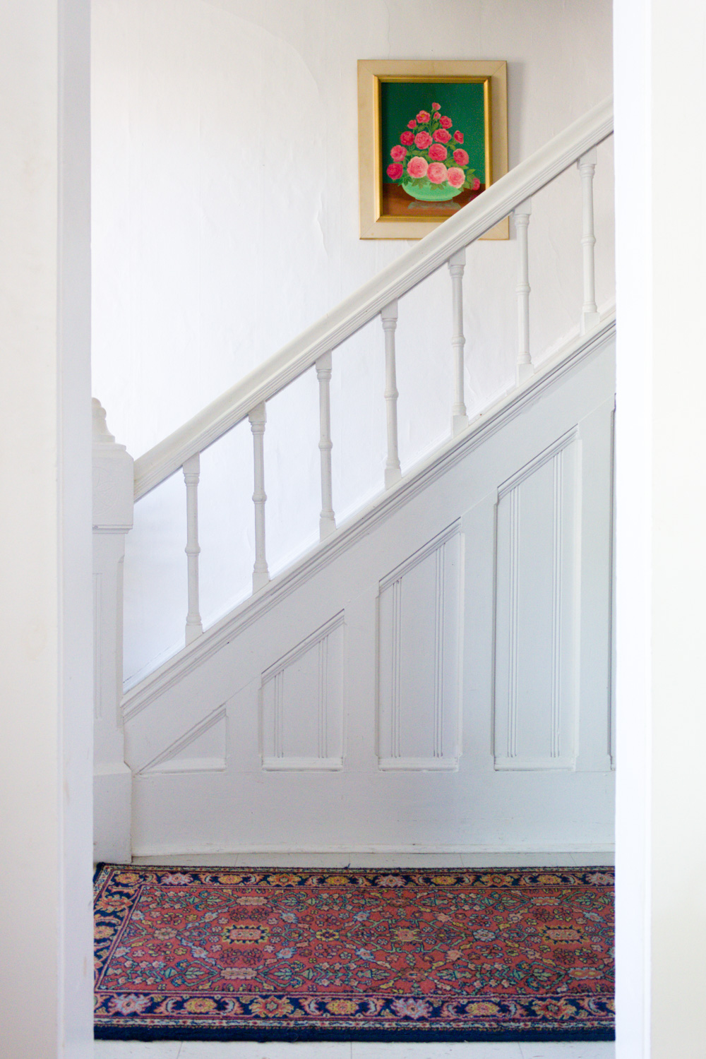 Copy of Entryway Stairs with Vintage Pink and Green Floral Still-life Painting