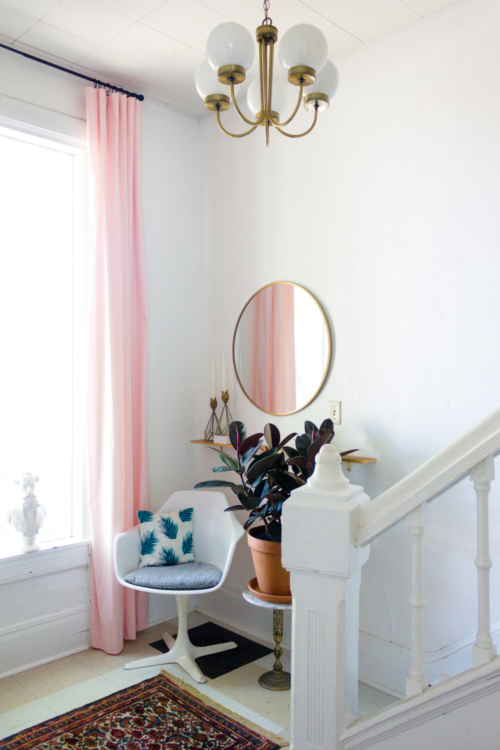 Copy of Pink and Green Entryway, Brass Round Mirror, White Tulip Chair