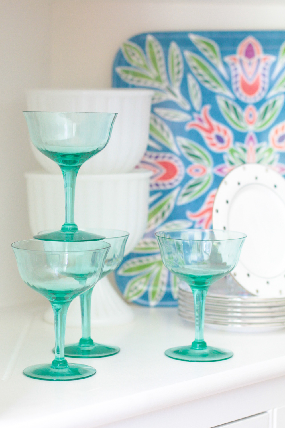 Green Champagne Flutes and Dotted Kate Spade Dessert Plates