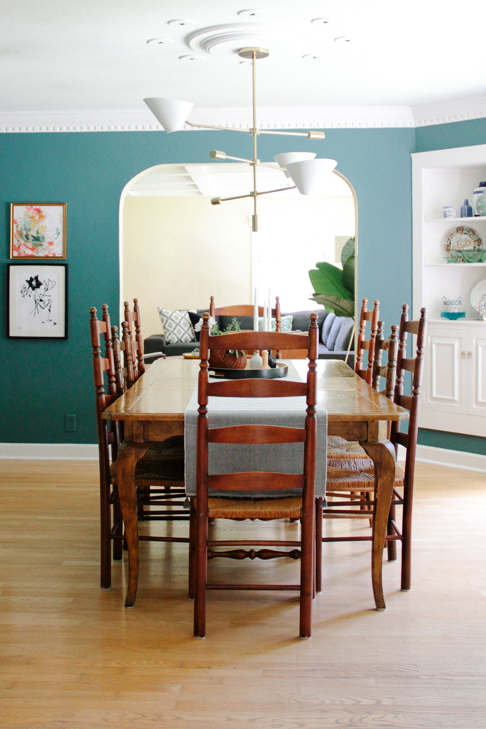 Modern Colonial Dining Room, painted Benjamin Moore Polished Slate with West Elm Mid-Century Chandelier