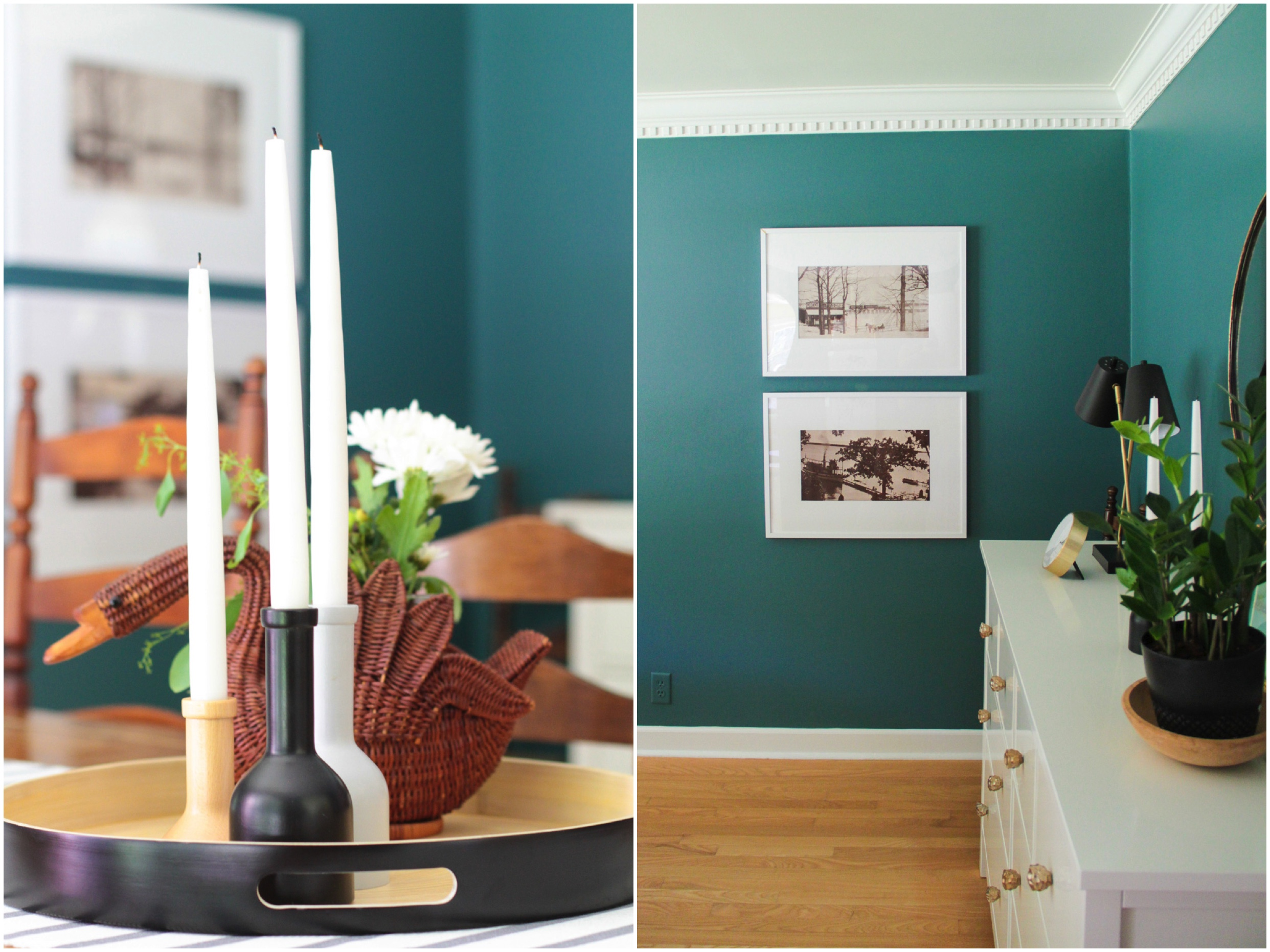 Candle Holders and Art in Green Modern Colonial Dining Room