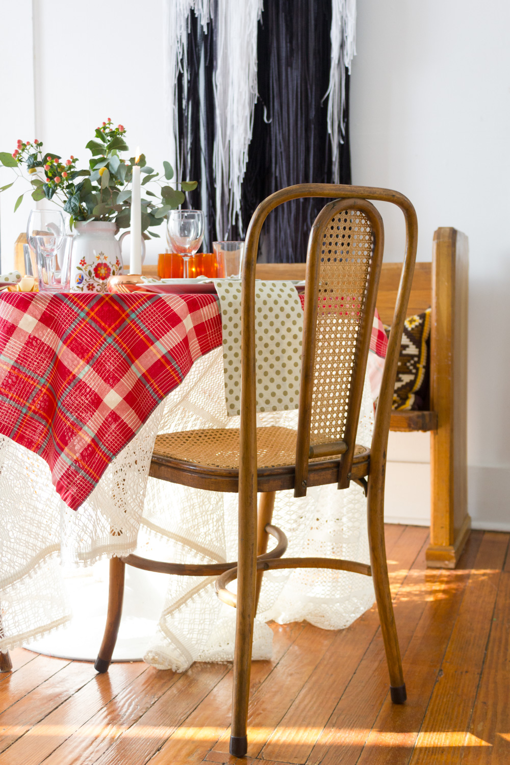 Red Plaid Thanksgiving Table Setting