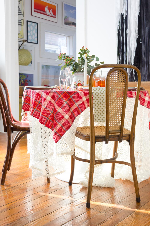 Red Plaid Thanksgiving Table Setting