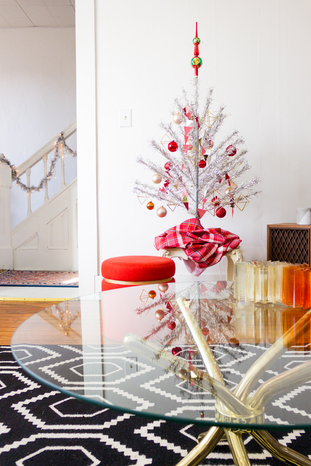 Red and Pink Vintage Aluminum Christmas Tree