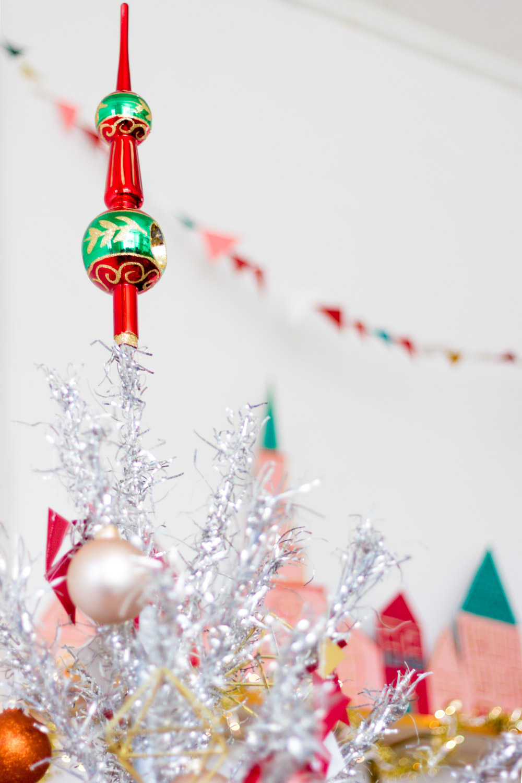 Vintage Tree Topper on Aluminum Christmas Tree