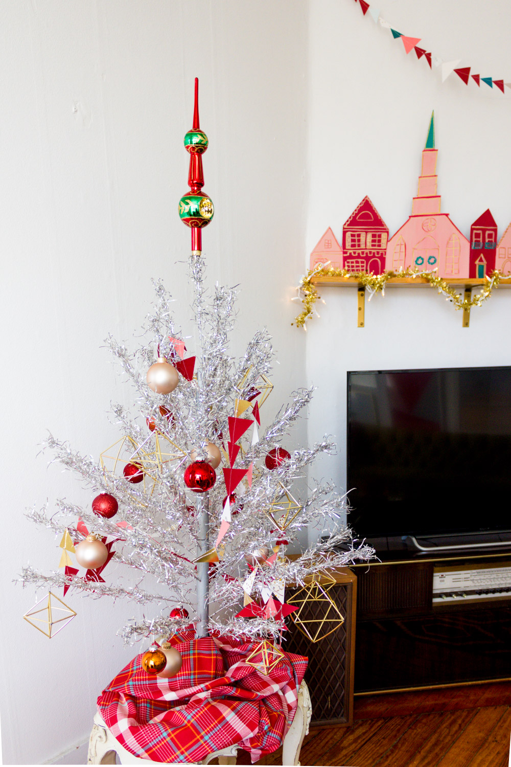 Vintage Aluminum Christmas Tree with Red and Pink Decorations