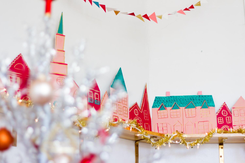 Handmade Pink and Green Christmas Village