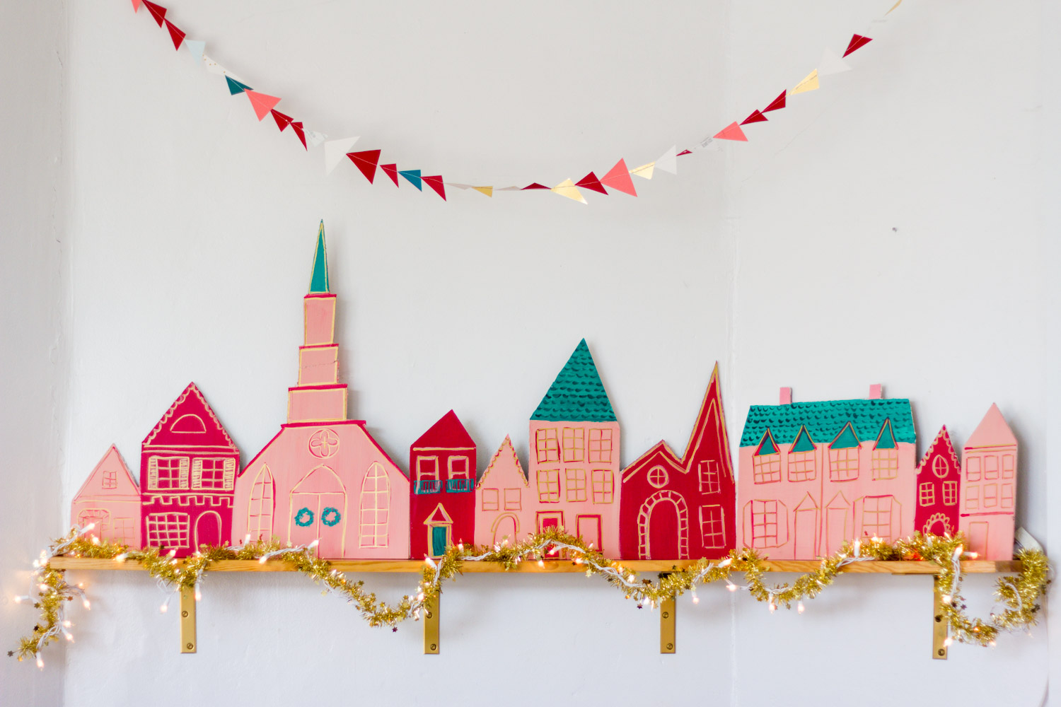 Handmade Red and Pink Christmas Village
