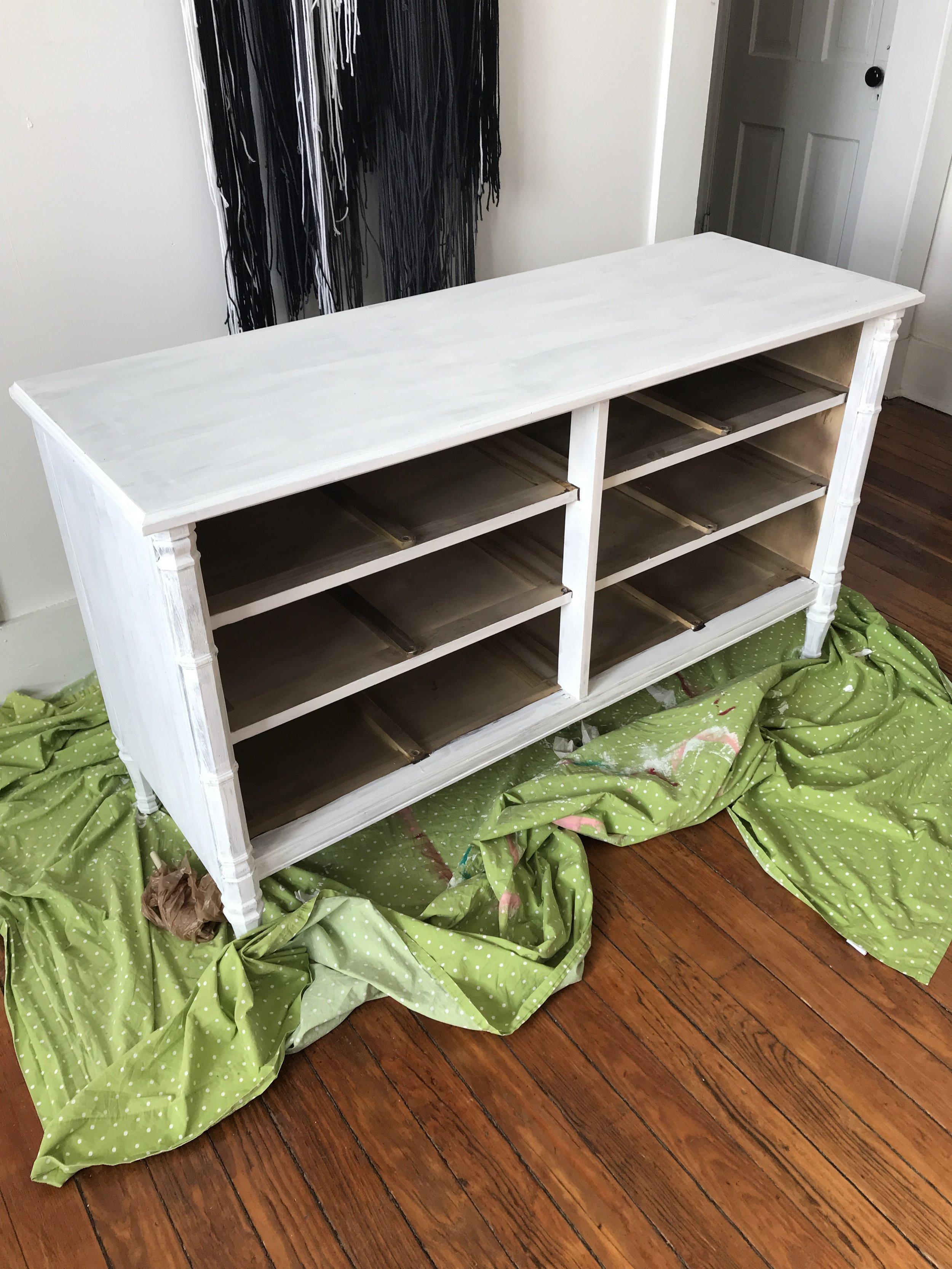 Primed dresser DIY