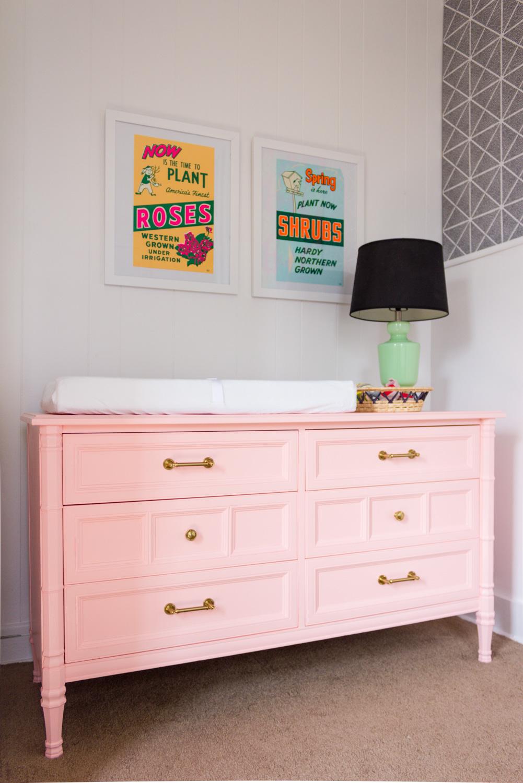 Valspar Peach Whisper painted dresser/nursery changing table makeover, Jadeite lamp