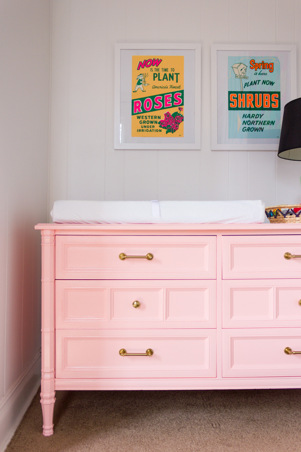Valspar Peach Whisper painted dresser/nursery changing table makeover