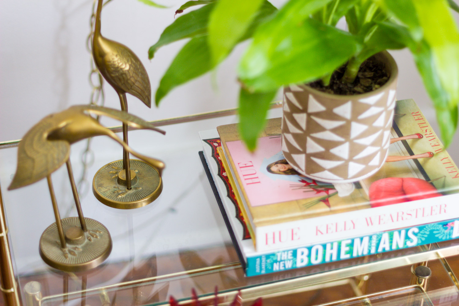 Vintage brass and glass side table closeup