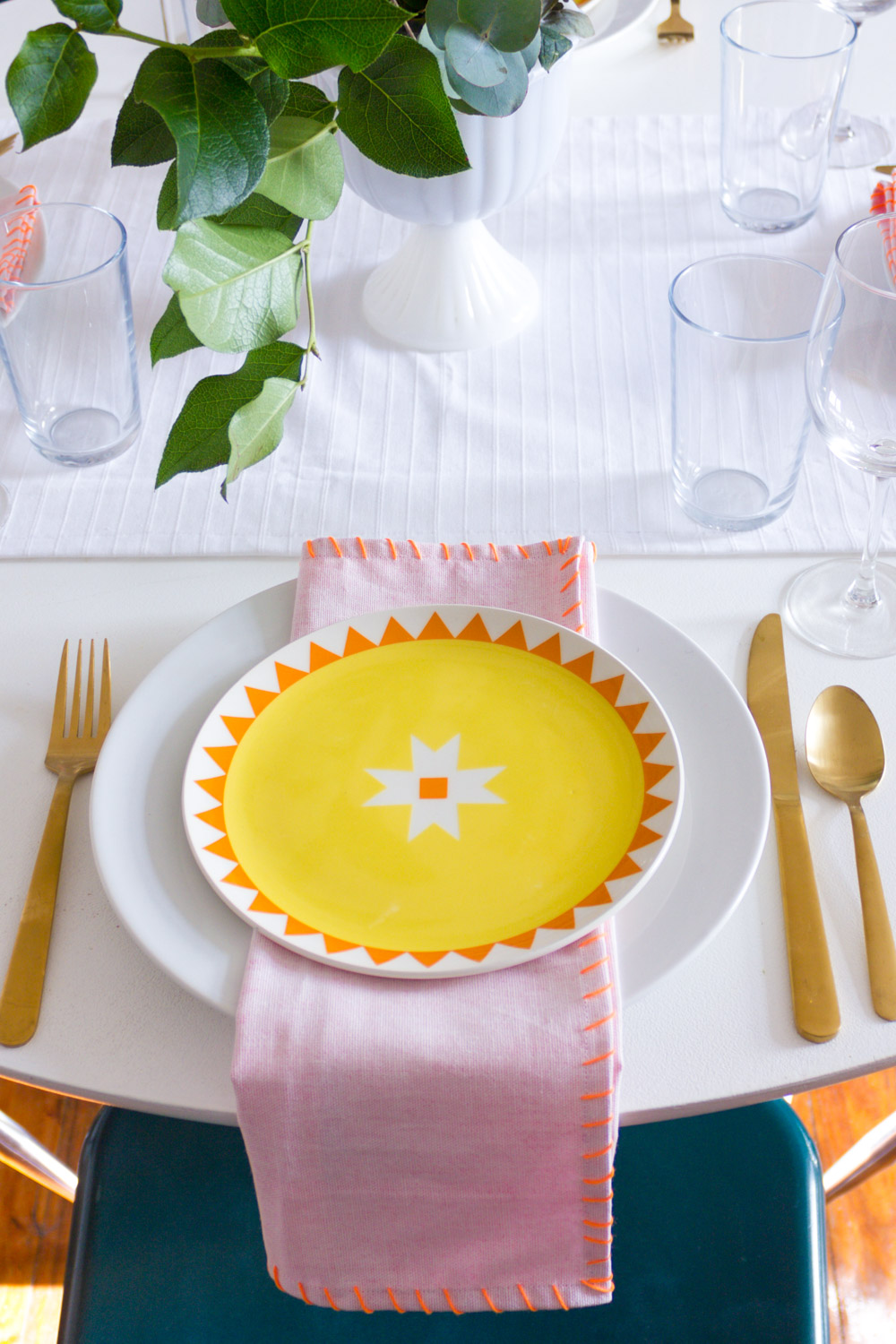 Bright and modern Thanksgiving table setting