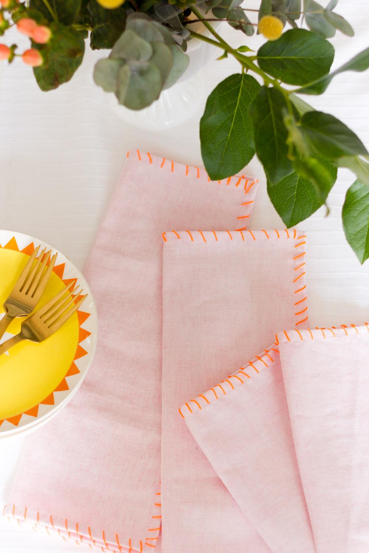 Bright blush and orange modern DIY cloth napkins