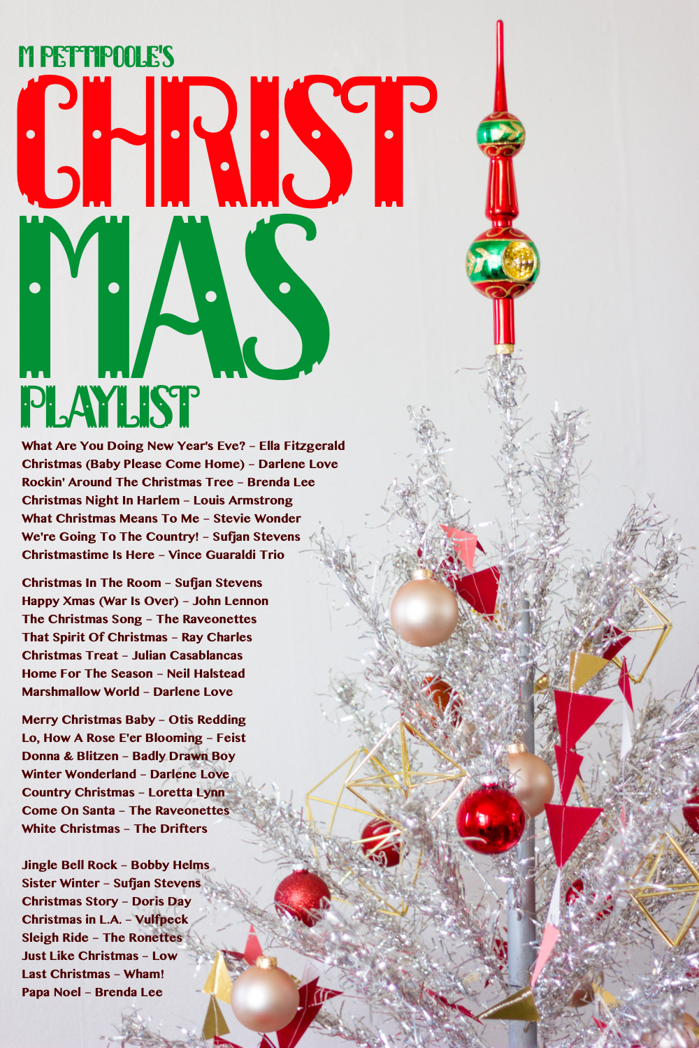 M Pettipoole's Christmas Playlist featuring Motown, Soul, Alternative and Classic Christmas songs