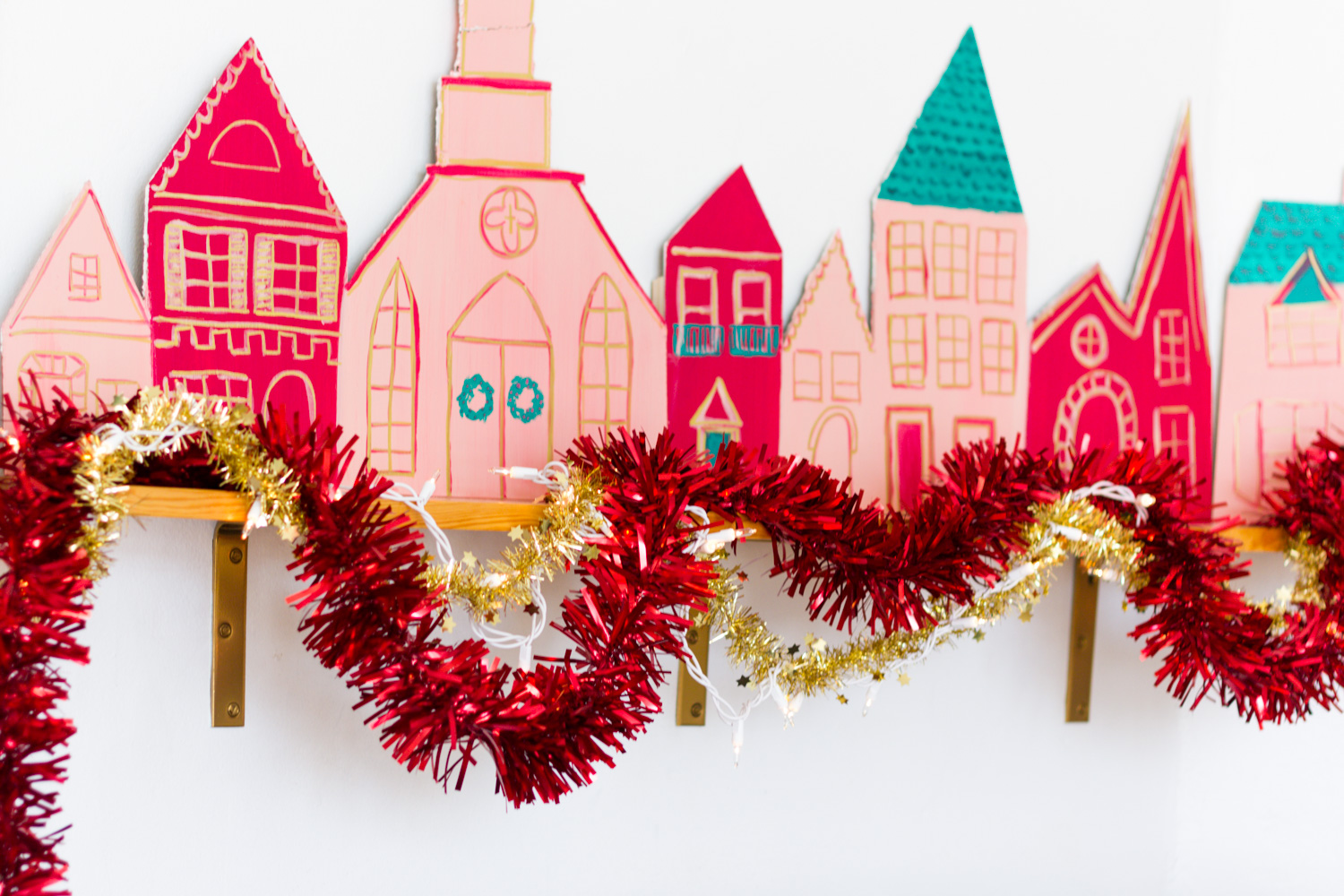 DIY pink and red painted Christmas village
