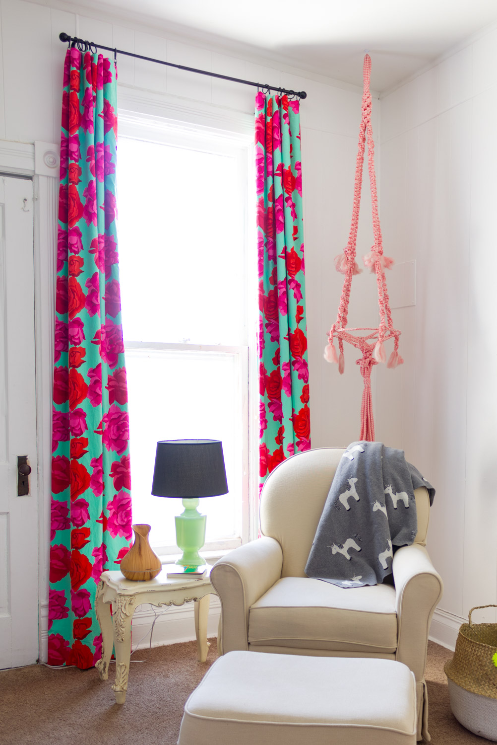 DIY roses curtain panels, bright and colorful baby girl nursery