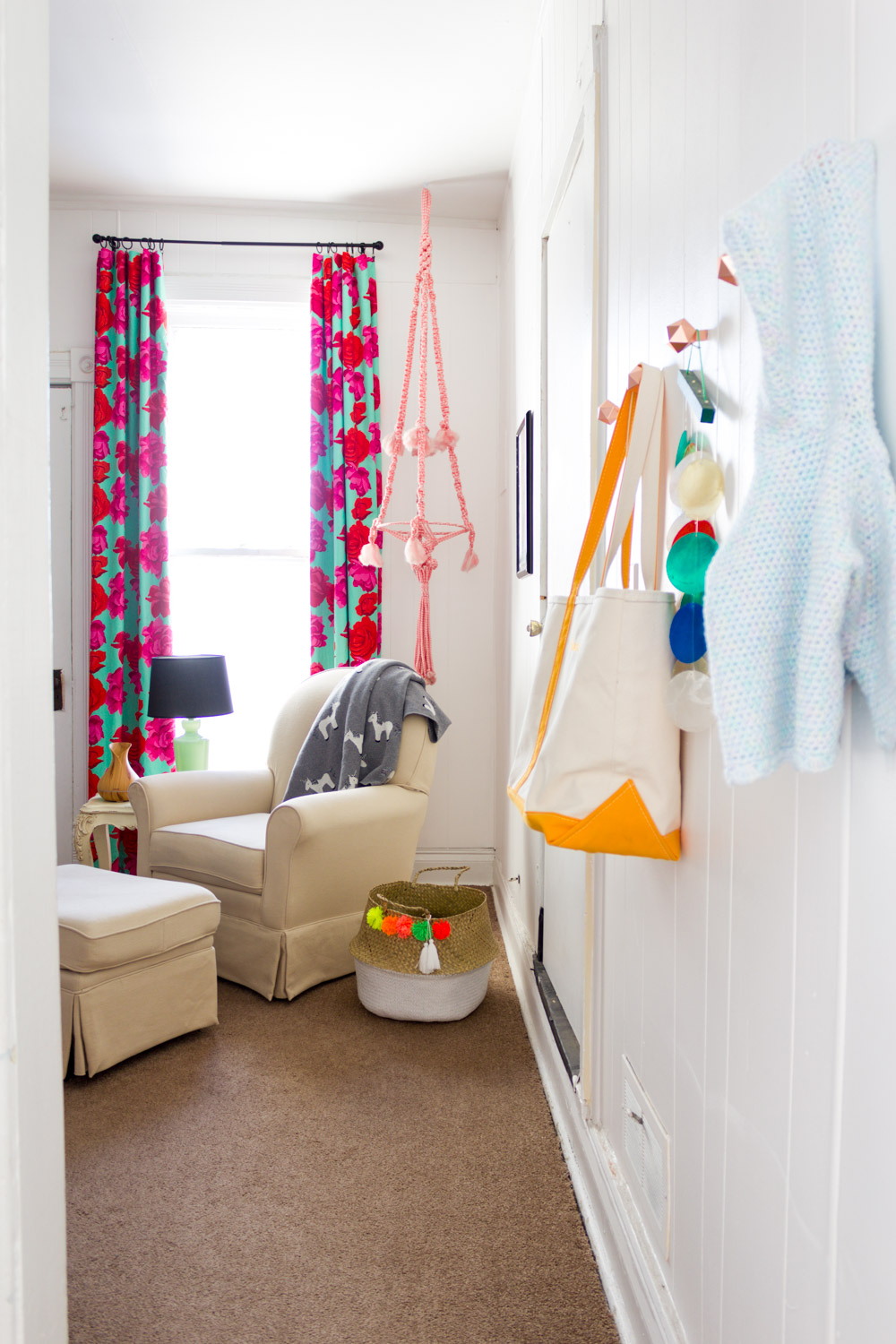 Copy of Colorful, pattern-filled nursery, DIY rose-print curtains