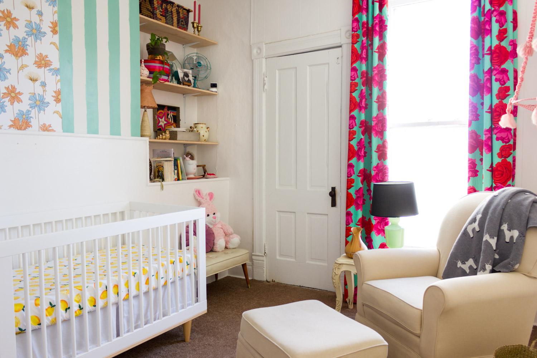 Copy of Colorful, pattern-filled modern nursery, DIY rose-print curtains