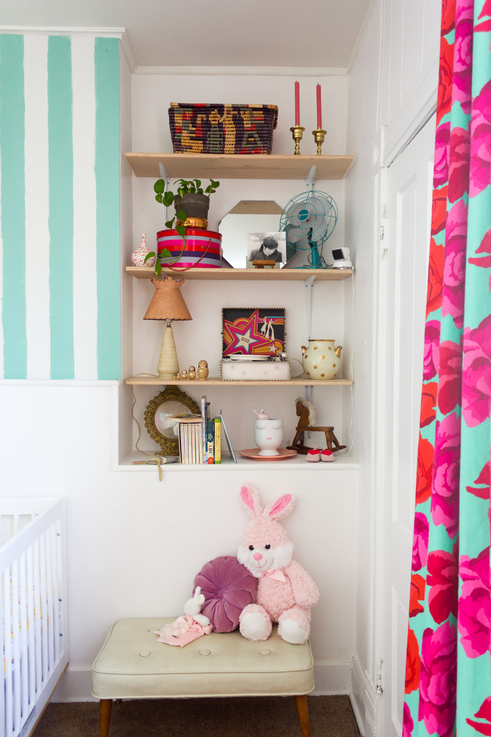 Copy of Colorful, pattern-filled nursery shelves, DIY rose-print curtains