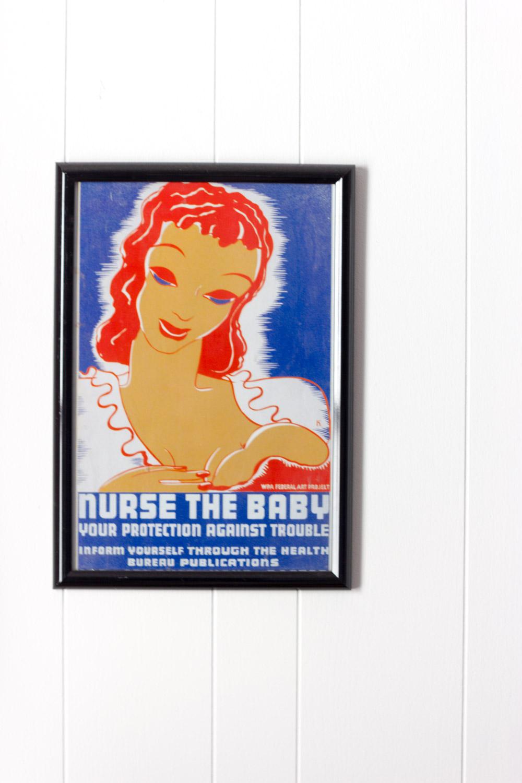 Copy of Vintage Nurse the Baby framed art