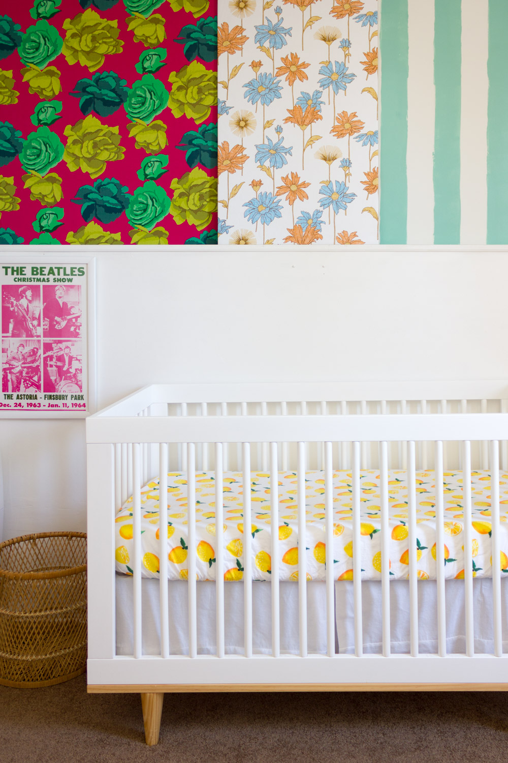 Copy of Colorful, pattern-filled nursery, roses, florals, stripes, white modern crib