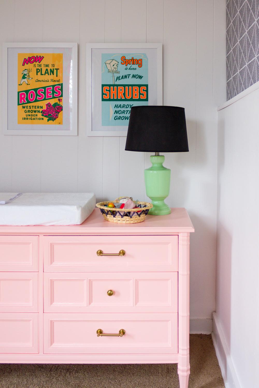 Copy of DIY Peach painted nursery dresser