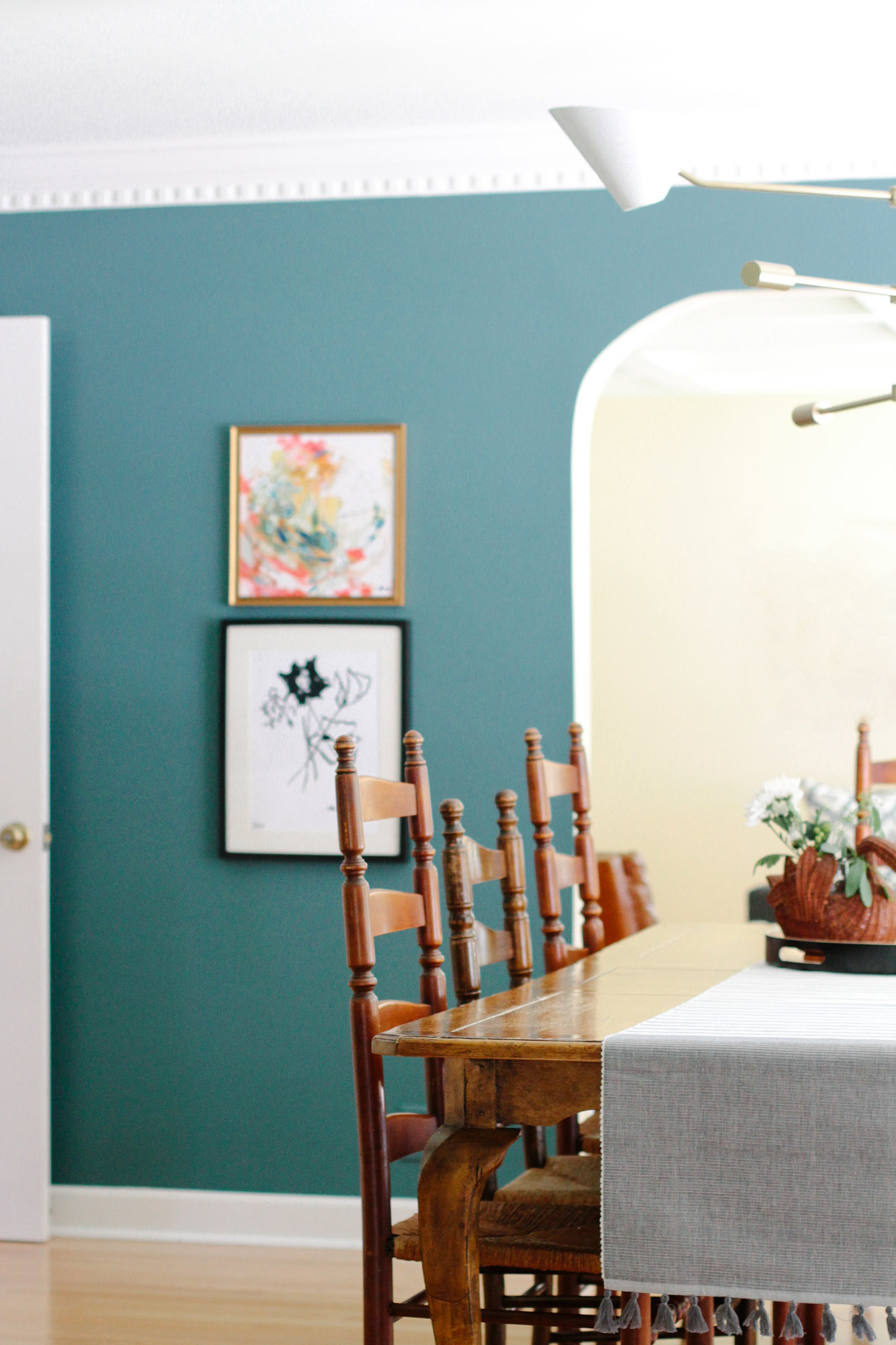 Colorful Art in Modern Colonial Dining Room