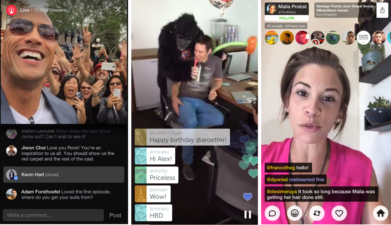 From Right: Facebook Live, Periscope, and Meerkat